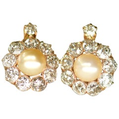 Victorian Natural Pearl and Diamond Cluster Earrings