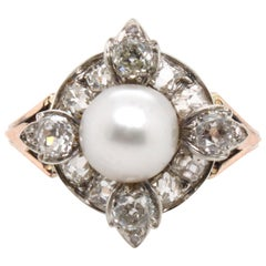 Victorian Natural Pearl and Diamond Cluster Ring, circa 1880s