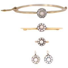 Victorian Natural Pearl and Diamond Earring, Ring, Brooch and Bangle Set