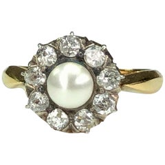 Victorian Natural Pearl and Diamond Flower Halo Cluster Ring