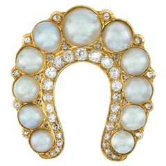 Victorian Natural Pearl and Diamond Horshoe Brooch or Pendant