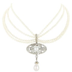 Victorian Natural Pearl and Diamond Necklace / Pendant / Brooch by Bolin