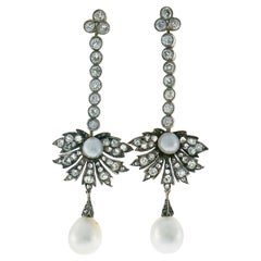 Victorian Natural Pearl Diamond Earrings in Gold and Silver, Cisgem Report Italy