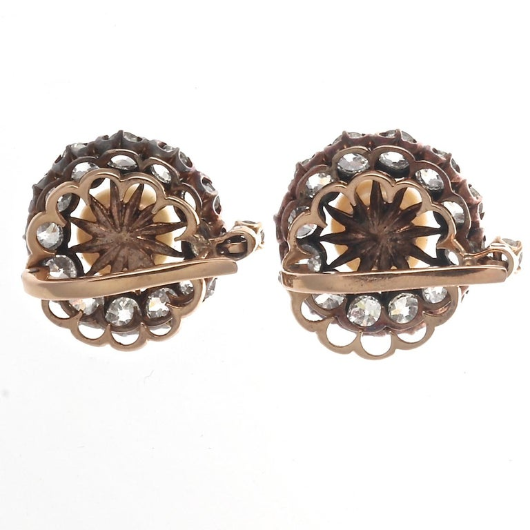 Victorian Natural Pearl Diamond Gold Earrings In Excellent Condition In Beverly Hills, CA