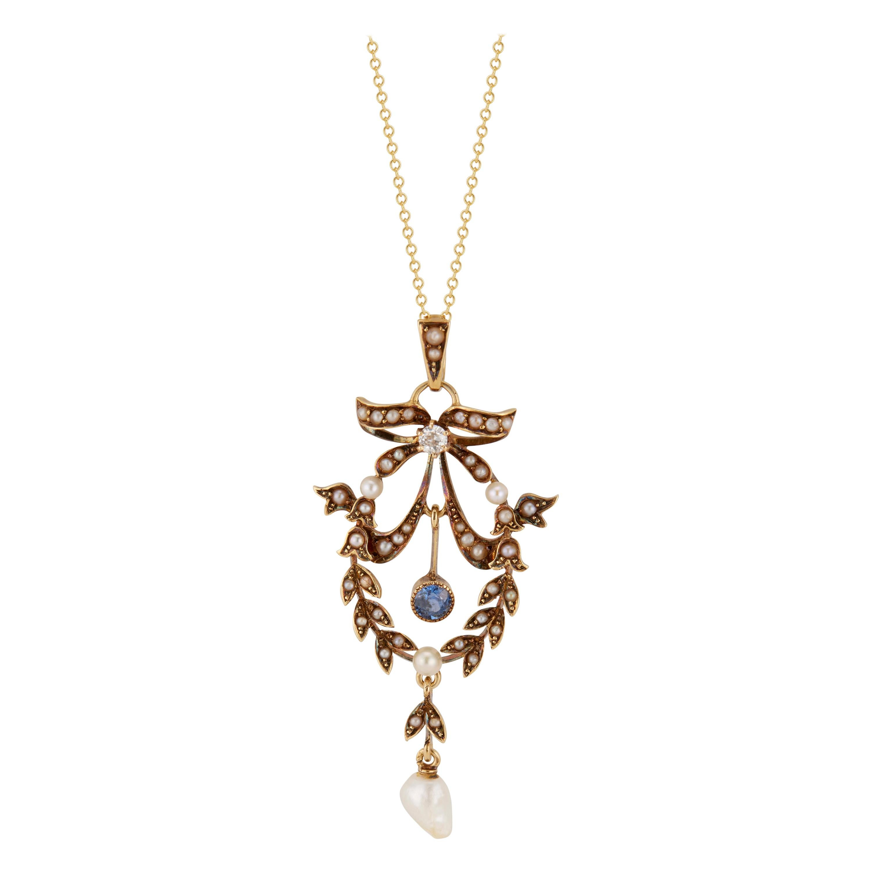 Victorian Natural Pearl Diamond Sapphire Yellow Gold Pendant Necklace