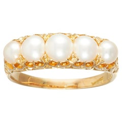 Victorian Natural Pearl Five-Stone Ring