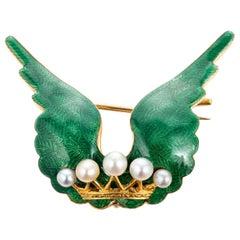 Victorian Natural Pearl Green Enamel Yellow Gold Brooch