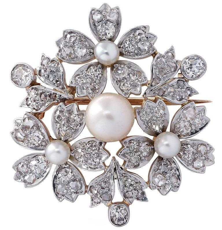 Victorian Natural Pearl Old Mine Cut Diamond Brooch Pin In Good Condition For Sale In Miami, FL