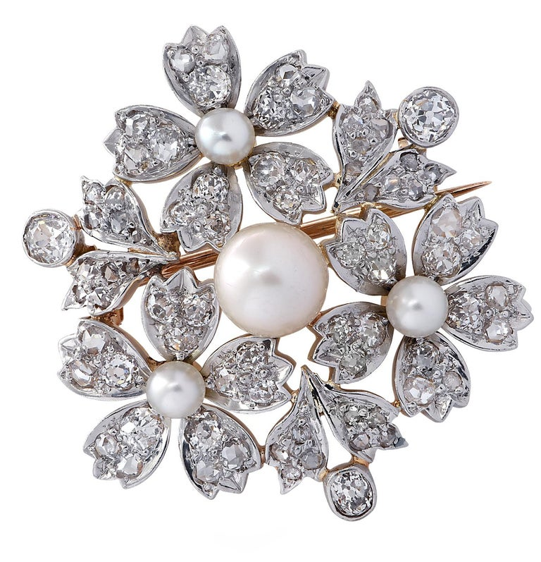 Women's or Men's Victorian Natural Pearl Old Mine Cut Diamond Brooch Pin For Sale