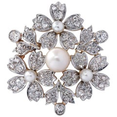 Victorian Natural Pearl Old Mine Cut Diamond Brooch Pin