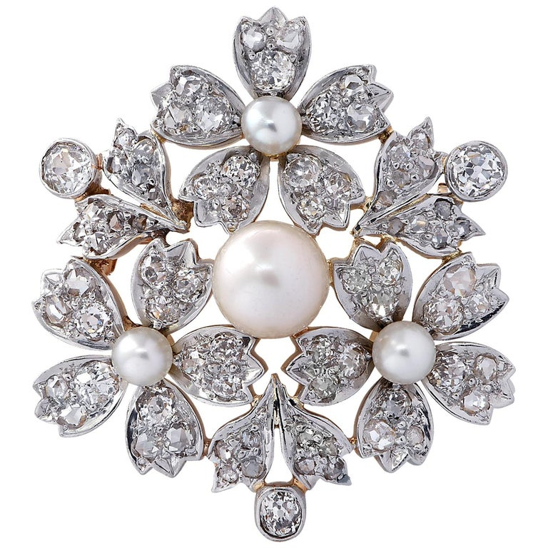 Victorian Natural Pearl Old Mine Cut Diamond Brooch Pin For Sale