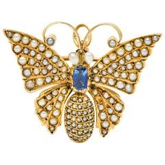 Victorian Natural Pearl Sapphire 14 Karat Gold Butterfly Pendant Brooch