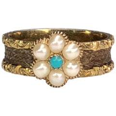 Victorian Natural Pearl Turquoise Daisy Flower Ring