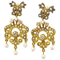 Victorian Natural Pearls Earrings with Diamonds 0.5 Carat 14 Karat Gold