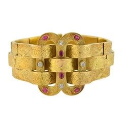 Victorian Natural Ruby Diamond Gold Weaved Buckle Bracelet