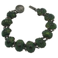 Victorian Natural Scarab Beetle Bracelet Egyptian Revival Sterling Silver