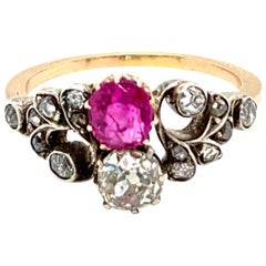Victorian Natural Unheated Ruby Diamond Vous et Moi Ring