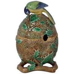 Victorian Naturalistic George Jones Majolica Blue Tit Preserve Pot & Lid