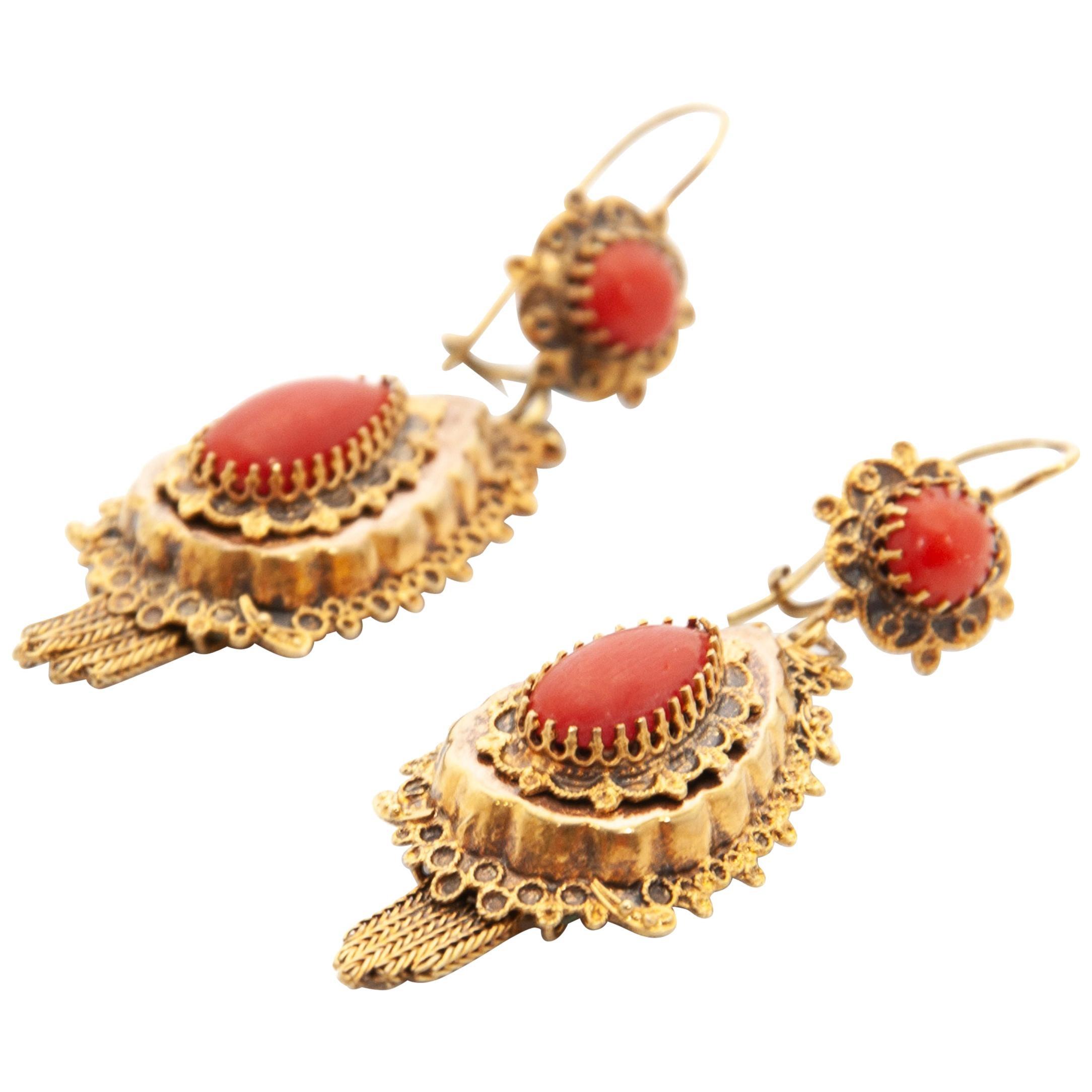14 Karat Yellow Gold Red Coral Cabochon Teardrop Dangle Earrings