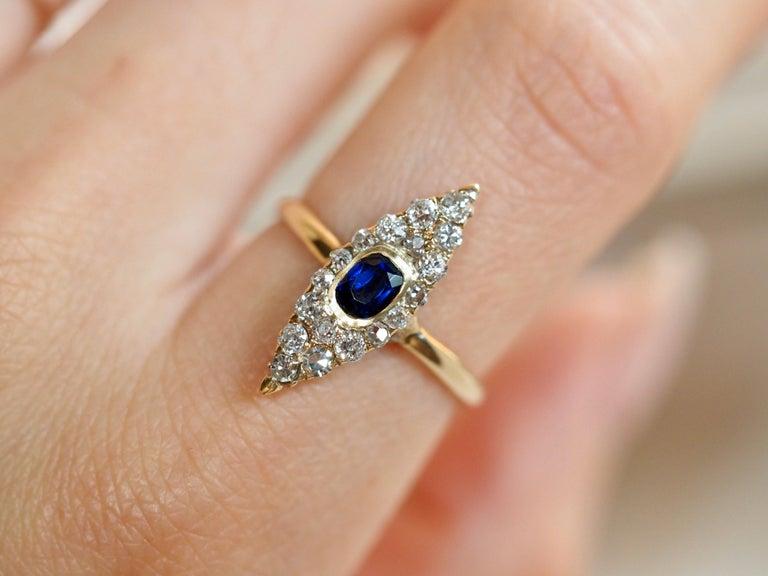 Old Mine Cut Victorian Navette Blue Sapphire Diamond Ring, circa 1990s For Sale