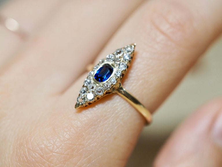 Victorian Navette Blue Sapphire Diamond Ring, circa 1990s In Excellent Condition For Sale In Addison, TX