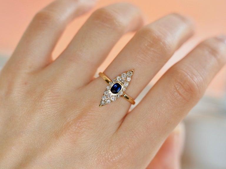 Women's or Men's Victorian Navette Blue Sapphire Diamond Ring, circa 1990s For Sale