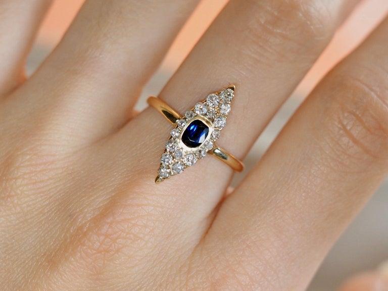Victorian Navette Blue Sapphire Diamond Ring, circa 1990s For Sale 1