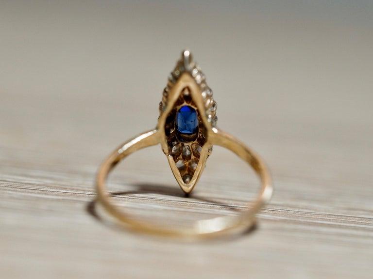 Victorian Navette Blue Sapphire Diamond Ring, circa 1990s For Sale 3