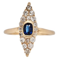 Victorian Navette Blue Sapphire Diamond Ring, circa 1990s