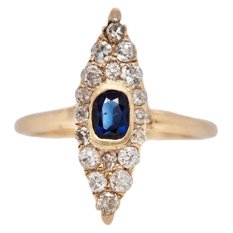 Victorian Navette Blue Sapphire Diamond Ring, circa 1990s For Sale