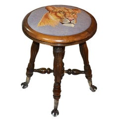 Victorian Needlepoint Tiger Adjustable Piano Stool with Crystal Claw Feet