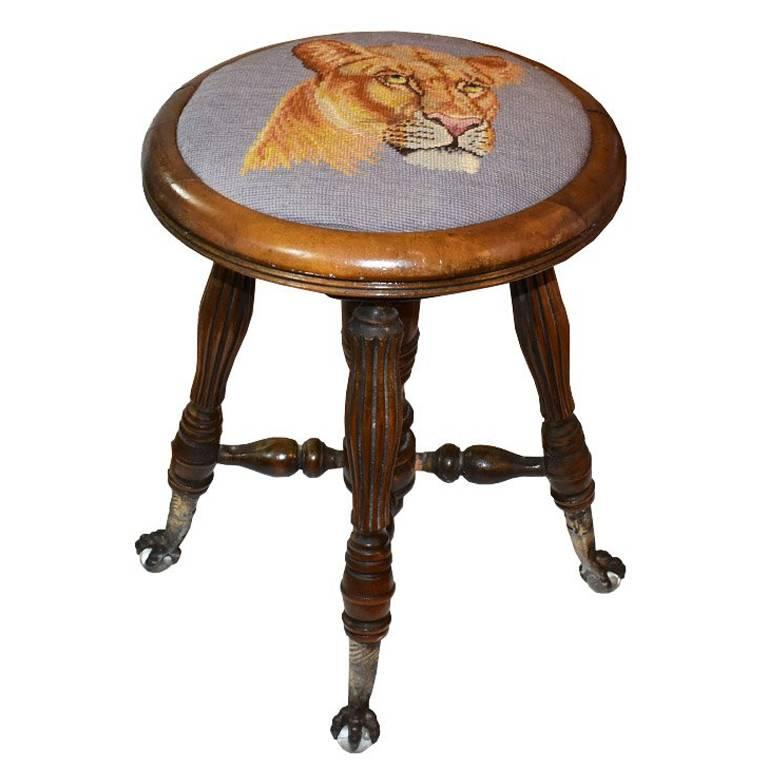 Victorian Needlepoint Tiger Adjustable Piano Stool with Crystal Claw Feet For Sale