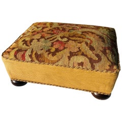 Victorian Needlepoint Upholstered Footstool