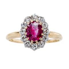 Victorian No Heat Burma Ruby and Diamond Ring