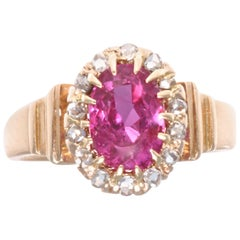 Victorian No Heat Burma Ruby Diamond Ring