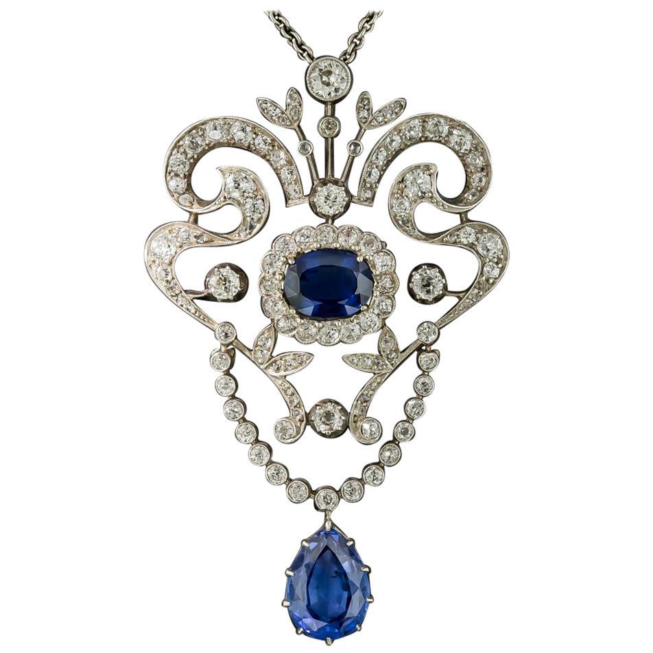 Victorian No-Heat Ceylon Sapphire and Diamond Lavalière Necklace