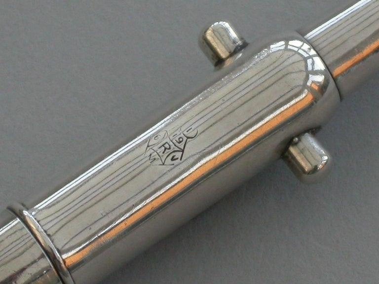 Victorian Novelty Silver Cannon Barrel Telescopic Propelling Pencil, 1876 For Sale 1