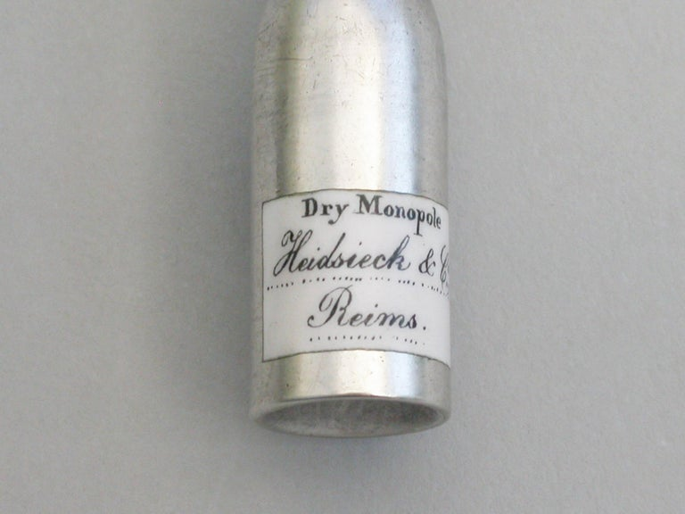 English Victorian Novelty Silver & Enamel Champagne Bottle Propelling Pencil, circa 1880 For Sale