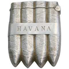 Victorian Novelty Silver Havana Cigar Vesta Case, by William Neale, 1887