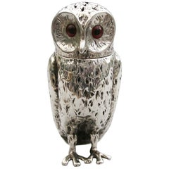 Victorian Novelty Silver Owl Pepper by Charles & George Fox, London, 1856