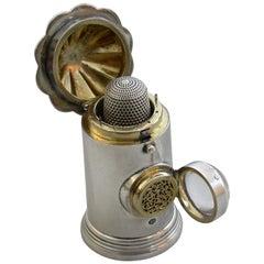 Victorian Novelty Silver Policeman's Bullseye Lantern Vinaigrette / Sewing Etui