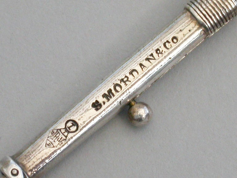 Victorian Novelty Silver Tennis Racket Propelling Pencil, Sampson Mordan For Sale 2