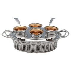 Victorian Novelty Wicker Basket Silver Plate Egg Cruet by Elkington in 1849