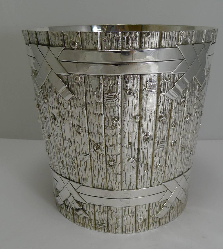Late Victorian Victorian Novelty Wine Cooler in Silver Plate by Elkington, 1879 For Sale