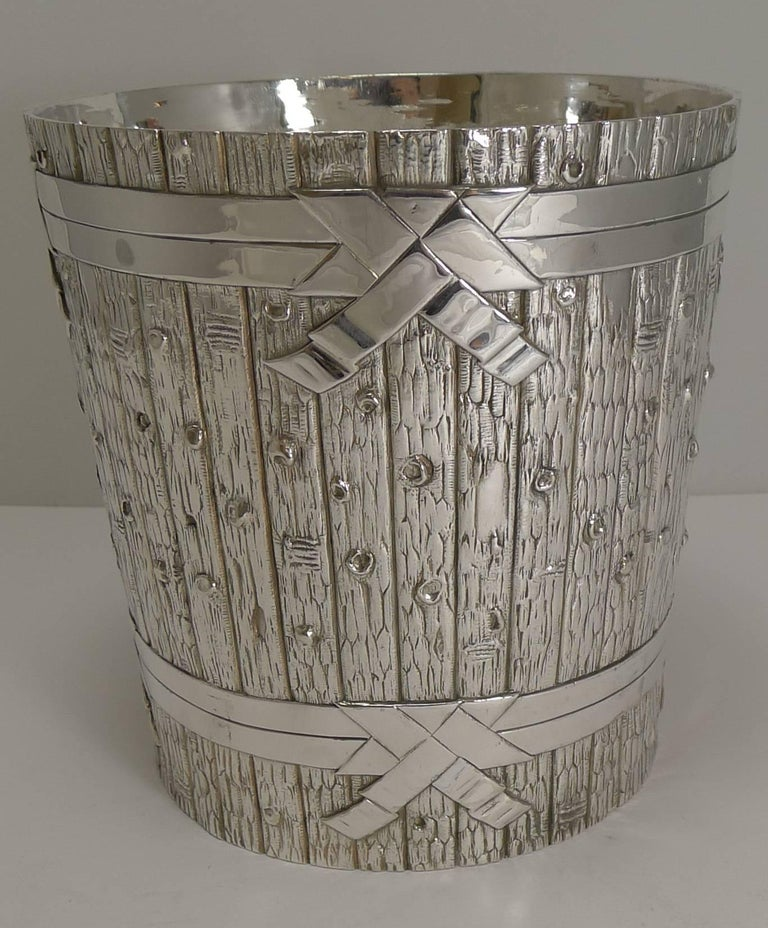 Late 19th Century Victorian Novelty Wine Cooler in Silver Plate by Elkington, 1879 For Sale