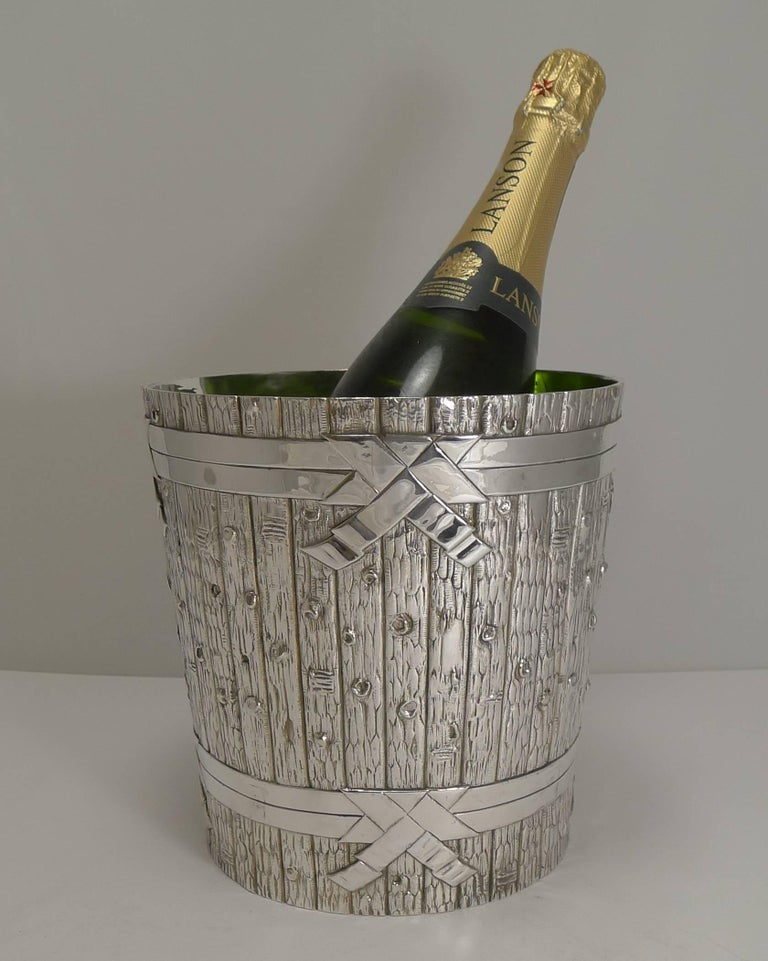 Victorian Novelty Wine Cooler in Silver Plate by Elkington, 1879 For Sale 1