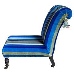Victorian Nursing Chair Upholstered in Designers Guild Striped Velvet