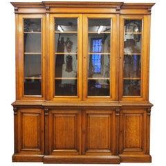 Viktorianischer Eichen 4-Türer Bücherschrank