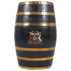 Victorian Oak and Brass Bound Barrel Stick Stand