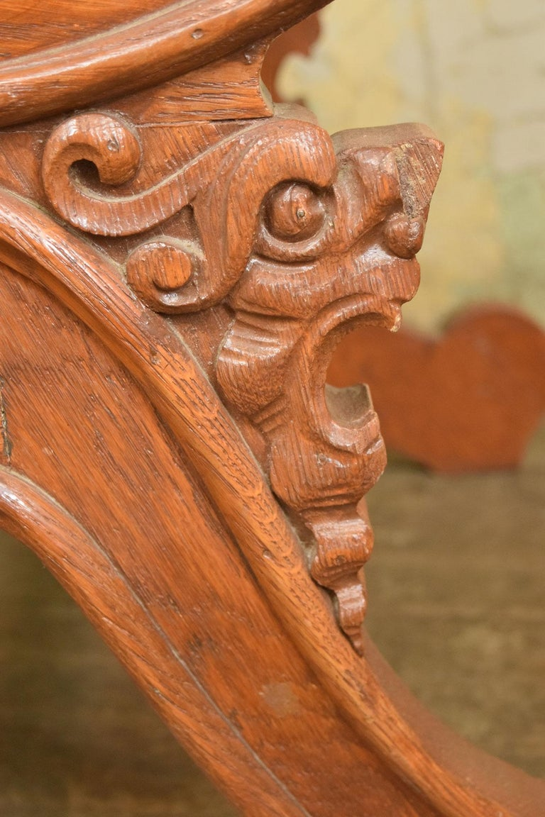 Victorian Oak Armchair with Zeus Face 1